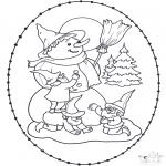 Зимние раскраски - Снеговик вышивка