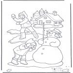 Зимние раскраски - Снежный бой
