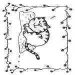 Раскраски с животными - Спящий кот