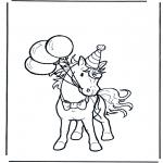 Раскраски с животными - У лошади день рожденья