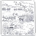 Раскраски с животными - Утка и эльф