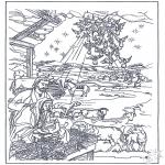 Раскраски по Библии - В хлеву