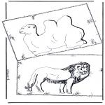 Раскраски с животными - Верблюд и лев