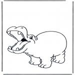 Раскраски с животными - Веселый бегемот