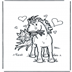 Раскраски с животными - Влюбленная лошадь