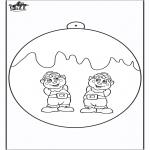 Рождественские раскраски - Ёлочный шар - Эльфы