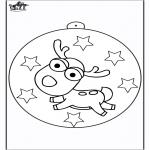 Рождественские раскраски - Ёлочный шар - Северный олень