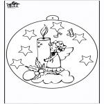 Рождественские раскраски - Ёлочный шар - Свеча