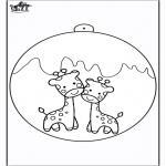 Рождественские раскраски - Ёлочный шар - Жираф