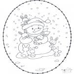 Зимние раскраски - Зимняя открытка для вышивки 1
