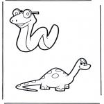 Раскраски с животными - Змея и дино